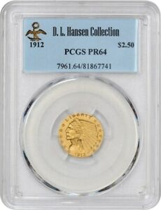 Click now to see the BUY IT NOW Price! 1912 $2 1/2 PCGS PR 64 EX: D.L. HANSEN   STUNNING MATTE PROOF