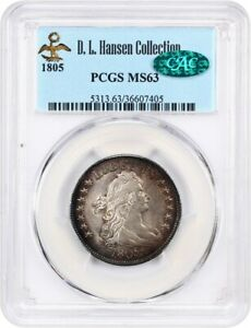 Click now to see the BUY IT NOW Price! 1805 25C PCGS/CAC MS63 EX: D.L. HANSEN   BUST QUARTER   BEAUTIFUL TONING