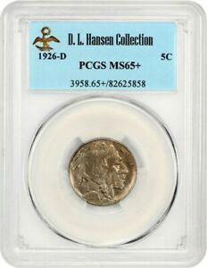 Click now to see the BUY IT NOW Price! 1926 D 5C PCGS MS65  EX: D.L. HANSEN   GORGEOUS GEM   BUFFALO NICKEL
