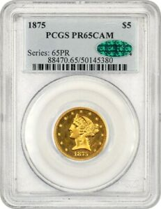 Click now to see the BUY IT NOW Price! 1875 $5 PCGS/CAC PR 65 CAM   LIBERTY HALF EAGLE   GOLD COIN