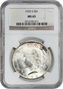 Click now to see the BUY IT NOW Price! 1925 S $1 NGC MS65    DATE   PEACE SILVER DOLLAR    DATE