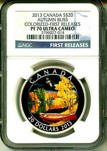 Click now to see the BUY IT NOW Price! 2013 CANADA S$20 AUTUMN BLISS COLORIZED FIRST RELEASE NGC PF70 ULTRA CAMEO