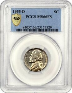 Click now to see the BUY IT NOW Price! 1955 D 5C PCGS MS66 FS   TIED FOR FINEST KNOWN   JEFFERSON NICKEL