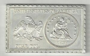 1838 U.S. SEATED LIBERTY QUARTER TYPE V 25 CENTS NUMISTAMP MEDAL COIN MORT REED