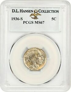 Click now to see the BUY IT NOW Price! 1936 S 5C PCGS MS67 EX: D.L. HANSEN   BUFFALO NICKEL   REGISTRY QUALITY
