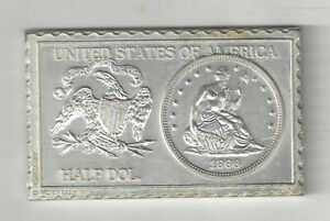 1866 U.S. SEATED LIBERTY HALF DOLLAR 50 CENTS NUMISTAMP MEDAL COIN MORT REED