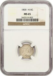 1800 H10C NGC MS65   LOVELY EARLY GEM   EARLY HALF DIME   LOVELY EARLY GEM