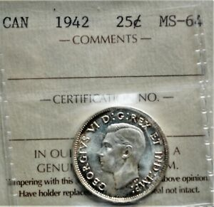 1942 CANADA 25 CENTS ICCS MS 64