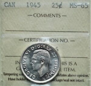 1945 CANADA 25 CENTS ICCS MS 65