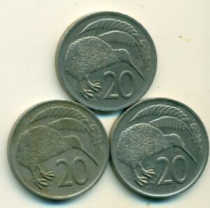 3 DIFFERENT 20 CENT COINS W/ KIWI BIRD FROM NEW ZEALAND  1975 1976 & 1977