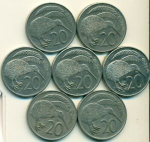 7 DIFFERENT 20 CENT COINS W/ KIWI BIRD FROM NEW ZEALAND  1967/72/79/80/82/83/85