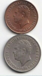 2 DIFFERENT COINS FROM SAMOA   2 & 20 SENE  BOTH DATING 1974