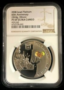 Click now to see the BUY IT NOW Price! 2008 ISRAEL 28.8GR PLATINUM 60TH ANNIV. LAND OF THE DEER NGC PF69UC 1 OF 60 ONLY