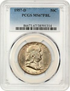 Click now to see the BUY IT NOW Price! 1957 D 50C PCGS MS67 FBL   FRANKLIN HALF DOLLAR   TIED FOR FINEST