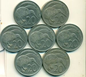 7 DIFFERENT 20 CENT COINS W/ KIWI BIRD FROM NEW ZEALAND  1967/69/75/76/80/82/86