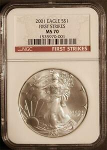 Click now to see the BUY IT NOW Price! 2001 $1 1 OZ. MINT STATE AMERICAN SILVER EAGLE NGC MS 70 FIRST STRIKES  POP 16