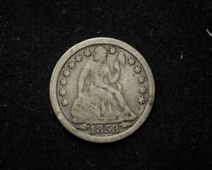 HS&C: 1853 LIBERTY SEATED DIME F ARROWS   US COIN