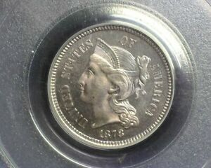 HS&C: 1878 THREE CENT NICKEL PROOF PCGS PF 65 NICELY TONED A GEM    US COIN