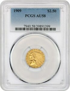 1909 $2 1/2 PCGS AU58   2.50 INDIAN GOLD COIN