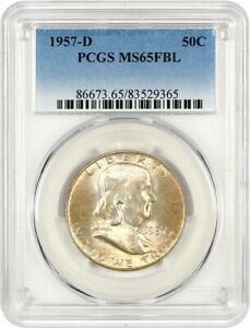 1957 D 50C PCGS MS65 FBL   FRANKLIN HALF DOLLAR