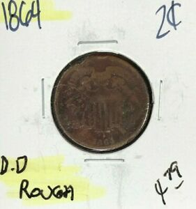 1864 TWO CENT PIECE   ROUGH  NICE COIN  REF D/D