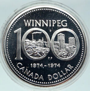 Click now to see the BUY IT NOW Price! 1974 CANADA QUEEN ELIZABETH II WINNIPEG 100 PAST / PRESENT SILVER $ COIN I86313