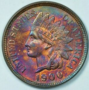 1900 1C INDIAN HEAD CENT PENNY MINT STATE UNCIRCULATED TONED