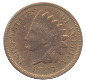 1887 INDIAN HEAD CENT CHOICE UNCIRCULATED BU  CONDITION UNITED STATES COIN