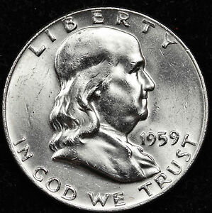 1959 P FRANKLIN HALF DOLLAR.  FULLY SEPARATED HORIZONTAL BELL LINE'S.  BU.  INV.