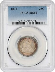 1871 25C PCGS MS66   LIBERTY SEATED QUARTER   GORGEOUS GEM