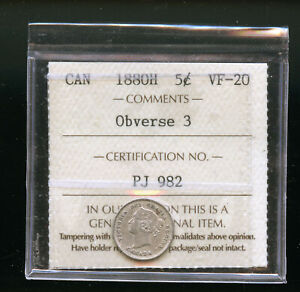 1880 H OBVERSE 3  CANADA 5 CENTS ICCS CERTIFIED VF20 DCB161