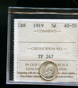 1919 CANADA 5 CENTS ICCS CERTIFIED AU55 DCB165