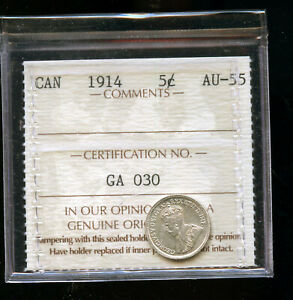 1914 CANADA 5 CENTS ICCS CERTIFIED AU55 DCB166