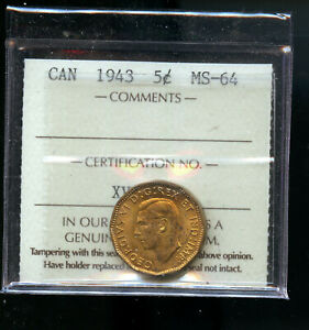 1943 TOMBAC CANADA 5 CENTS ICCS CERTIFIED MS64 DCB184