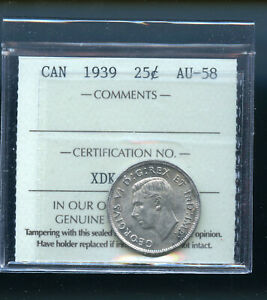 1939 CANADA 25 CENTS ICCS CERTIFIED AU58 DCB194