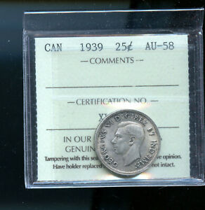 1939 CANADA 25 CENTS ICCS CERTIFIED AU58 DCB195
