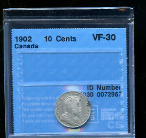 1902 CANADA 10 CENTS CCCS CERTIFIED VF30 DCB202