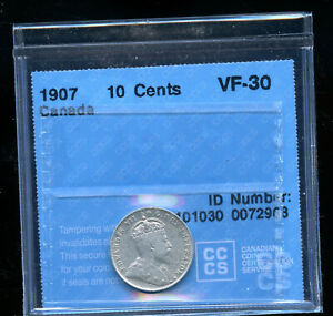 1907 CANADA 10 CENTS CCCS CERTIFIED VF30 DCB203