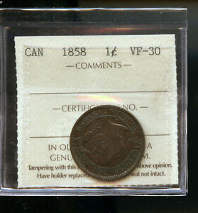 1858 CANADA LARGE CENT ICCS CERTIFED VF30 DCB241