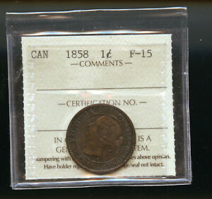 1858 CANADA LARGE CENT ICCS CERTIFED F15 DCB242