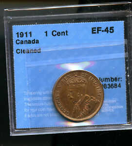 1911 CANADA LARGE CENT CCCS CERTIFED EF45 CLEANED DCB243
