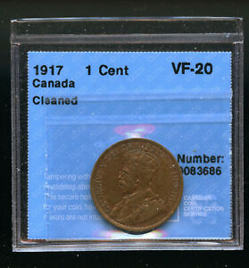 1917 CANADA LARGE CENT CCCS CERTIFED VF20 CLEANED DCB245