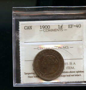 1900 CANADA LARGE CENT ICCS CERTIFED EF40 DCB246