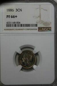 1886 3CN NGC PF 66     OLD NICKEL COLLECTOR COIN LIBERTY THREE CENT PIECE
