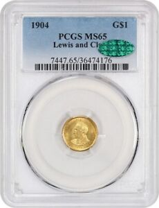 Click now to see the BUY IT NOW Price! 1904 LEWIS & CLARK G$1 PCGS/CAC MS65   KEY DATE GOLD COMMEM