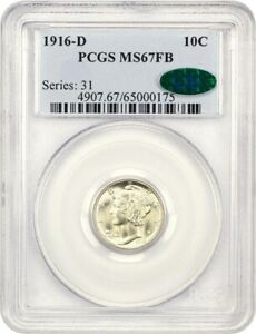 1916 D 10C PCGS/CAC MS67 FB   RARITY IN FULL BANDS TIED FOR FINEST KNOWN