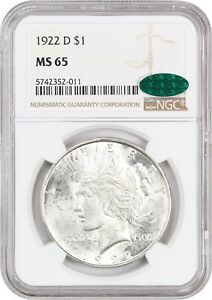 1922 D $1 NGC/CAC MS65   PEACE SILVER DOLLAR