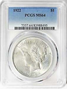 1922 PEACE SILVER DOLLAR MS64