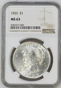 1925 PEACE SILVER DOLLAR MS63 NGC COIN