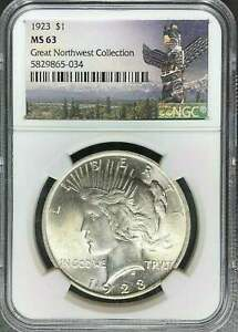 1923 PEACE SILVER DOLLAR NGC MS63 GREAT NORTHWEST